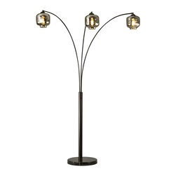 "Nova - Contemporary Nova Thomas 3-Light Arc Floor Lamp - This chic oil rubbed bronze arc lamp is a blend of modern and industrial style. Three gracefully curved slender metal arcs each hold a distinctive charcoal glass shade reminiscent of vintage globes that reflect and diffuse the light from vintage look Edison style bulbs. The flat round black marble base complements the round shape of the glass. A stylish addition to your home from Nova Lighting. 3-light arc floor lamp. Oil rubbed bronze finish metal. Charcoal glass shades. Round black marble base. Includes three 60 watt vintage style Edison bulbs. 3-way rotary switch. Glass is 7"" wide and 7"" high. 84"" high. 48"" wide.     3-light arc floor lamp.  Oil rubbed bronze finish metal.  Charcoal glass shades.  Round black marble base.  Includes three 60 watt vintage style Edison bulbs.  3-way rotary switch.  Glass is 7"" wide and 7"" high.  84"" high.  48"" wide."