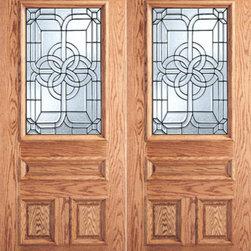 """Celtic Design Decorative Glass, 3-Panel 1/2 Lite Front Double Door - SKU#R Series_2BrandAAWDoor TypeExteriorManufacturer CollectionBeveled Glass Entry DoorsDoor ModelDoor MaterialWoodgrainVeneerPrice2400Door Size Options2(30"""") x 80"""" (5'-0"""" x 6'-8"""")  $02(32"""") x 80"""" (5'-4"""" x 6'-8"""")  $02(36"""") x 80"""" (6'-0"""" x 6'-8"""") R/M  +$120Core TypeDoor StyleDoor Lite Style1/2 LiteDoor Panel Style3 Panel , Raised MouldingHome Style MatchingElizabethan , Suburban , Victorian , Bungalow , Colonial , Old WorldDoor ConstructionPrehanging OptionsPrehungPrehung ConfigurationDouble DoorDoor Thickness (Inches)1.75Glass Thickness (Inches)3/4 , 1/2Glass TypeTriple Glazed , Single GlazedGlass CamingBlackGlass FeaturesInsulated , BeveledGlass StyleClear , Glue ChipGlass TextureGlass ObscurityDoor FeaturesDoor ApprovalsFSCDoor FinishesDoor AccessoriesWeight (lbs)850Crating Size25"""" (w)x 108"""" (l)x 52"""" (h)Lead TimeSlab Doors: 7 daysPrehung:14 daysPrefinished, PreHung:21 daysWarranty"""