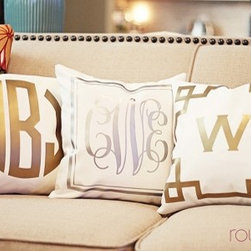 Monogrammed Metallic Pillow Cover - I would love to have a set of these pillows for my bedroom, one for me and one for my husband.