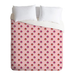 DENY Designs - Laura Redburn Circle Spot Dot Pink Duvet Cover - Turn your basic, boring down comforter into the super stylish focal point of your bedroom. Our Luxe Duvet is made from a heavy-weight luxurious woven polyester with a 50% cotton/50% polyester cream bottom. It also includes a hidden zipper with interior corner ties to secure your comforter. it's comfy, fade-resistant, and custom printed for each and every customer.