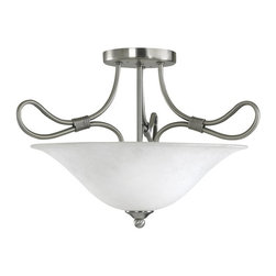 BUILDER - KICHLER 3757AP Stafford Transitional Convertible Semi Flush / Pendant Light - The Stafford(TM) Collection blends styles much the same way its arms bend into new and refreshing design elements. The bound loops in a beautiful Antique Pewter finish truly put a new twist on a classic style. And the White French Scavo glass gives a rich light just perfect for your home. This 2 light semi-flush ceiling light also converts to an inverted pendant. It uses 2 100-watt bulbs. It is Hybrid (18-25W CFL) compatible.