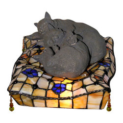 Warehouse of Tiffany - Tiffany-style Cat Accent Lamp - Handcrafted using methods first developed by Louis Comfort Tiffany