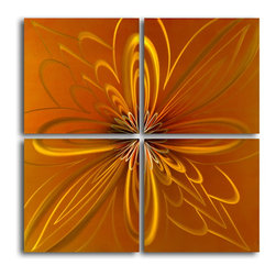 My Art Outlet - Metal Wall Art Decor Abstract Contemporary Modern Sculpture Hanging - Name: Spirographic flower on tiles