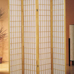 Asia Direct Home - 4-Panel Shoji Room Divider Screen w Natural F - Traditional style. Wooden frame. Thickness: 1 in.. Overall: 68 in. W x 70 in. H