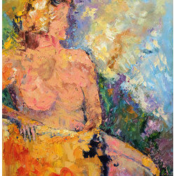 Reverie (Original) by Nancy Williams - The inspiration for this piece was thinking of a woman in deep in her thoughts, enjoying the sunlight before dressing in the morning.  She is every woman, taking some time to herself before her day begins.  She is painted in thick impasto oil with palette knife.  Sides of the 16x20 stretched canvas are painted sky blue and the painting is wired to hang, however it can be easily re-framed in a standard-sized 16x20 frame of your choice.