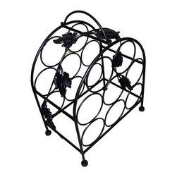 Pangaea Home and Garden - 8 Bottle Wine Rack in Black - Elegant, useful and affordable handmade piece. Holds eight bottles of wine. Environment friendly product. Made from recycled wrought iron. Durable powder coated finish. No assembly required. 14 in. W x 9 in. D x 16 in. H (8 lbs.)The iron grape leaves that gently weave their way through the frame greatly enhance the aesthetic appeal of the wine cage.