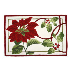 Homefires - Holiday Trim Accent Rug - Machine washable