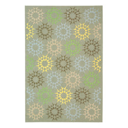 """MSR1843H Martha Stewart Rug - 9'6""""x13'6"""" - The classic geometrics of an American Country Quilt appear refreshingly new in the soft and contemporary Block Quilt. Natural cotton yarns are densely hand-tufted in China to create a loop-pile background and subtle cut-pile motif, enhanced by the muted tonalities of its neutral palette."""
