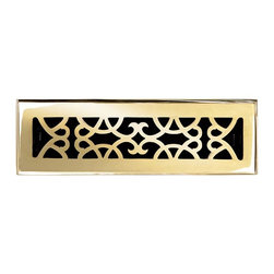 """Brass Elegans [120A PLB] Brass Decorative Floor Register Vent Cover - Victorian - This polished brass finish solid brass floor register heat vent cover with a victorian scroll design fits 2 1/4"""" x 10"""" x 2"""" duct openings and adds the perfect accent to your home decor."""