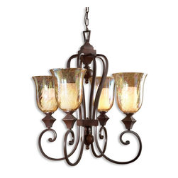 Uttermost - Elba 4-Light Candle Chandelier - Hang this above your dining table and you'll feel like the Empress Josephine. The grand, curved arms are banded with square accent shapes and the crackled, iridescent glass sconces throw a glittering cast of light around your room. You'll dine like royalty every night.