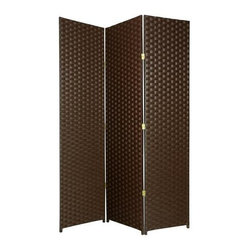 Oriental Unlimited - Frameless 7 ft. Tall Woven Fiber Room Divider - Choose No. of Panels: 3 Panels / BlackSeparate seating areas or create an element of privacy in any space with this durable folding Shoji screen, a graceful, elegant addition to any decor. Featuring a spruce frame in rosewood finish, the screen has a white rice paper shade and a classic window pane style design for textural interest. Double hinged for the maximum design flexibility. Screen has a 3 cm. weave and 1.5 in. legs. Each panel: approximately 19.5 in. W x 0.75 in. D x 84 in. HThis natural 7 ft. Tall Woven Fiber Room Divider brings an earthy, serene feeling to any room. It's made of a wooden fiber mesh material in a frameless design.