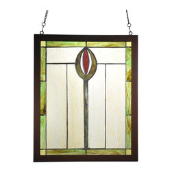 Meyda Tiffany - Meyda Tiffany Spear Wood Frame Window X-00189 - Warm shades of golden beige create a comfortable, elegant feel to this Meyda Tiffany wood frame window. From the Spear Collection, this unique design features a single central spear in green and burgundy tones. Coordinating green trim completes the look.
