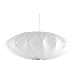 Modernica - Saucer Criss Cross Bubble Lamp, White - Taking its cues from midcentury design, this handcrafted ceiling pendant features a white crisscross saucer-shaped shade, six feet of white cord and a brushed-nickel ceiling plate. Place one over your breakfast, dining or entry table for earthy, organic and modern enlightenment.