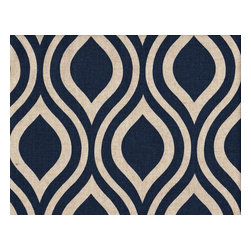 "Close to Custom Linens - 84"" Shower Curtain, Lined, Nicole Indigo Blue Beige Geometric - Nicole is a contemporary medium scale geometric in indigo blue on a neutral beige linen-textured background. Reinforced button holes for 12 curtain rings."