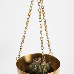 Hanging Brass Planter - I am having a serious decor crush on indoor plants at the moment. Hanging planters and plants don't cost a lot, so you can have a living feature for relatively cheap.