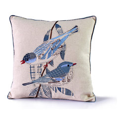 14 Karat Home - Mifflin Pillow - A new and fun twist to our fine feather friends.  We love this wonderful appliqued patchwork, that brings in touches of embroidery all techniques combining to create this interesting work of art.  The printed welting helps set off this fun and playful designer pillow.