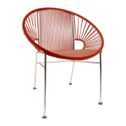 """Updated Mayan Hoop Chair in Red - Hoop it up with this colorful chair! Lean back and relax or sit up and entertain, our hoop chair is versatile and made to last. Updating the classic woven chair, its gorgeous modern design is made by using a traditional Mayan weaving technique with vinyl cord around a recycled steel frame. Use as a dining chair by adding 2"""" cushions, an accent chair in the living room, or an outdoor chair since it's waterproof, breathable, and UV and rust resistant."""
