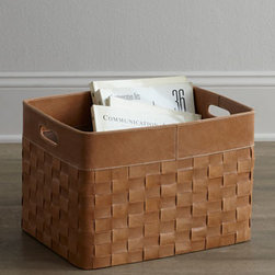 Jamie Young - Jamie Young Woven-Leather Basket - Exclusively ours. Baskets are such versatile additions to any space. Not only do they provide portable storage; they look amazing at the same time. Both durable and sturdy, this basket features bin handles, making it easy to tuck into a corner. Handc...