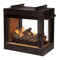 """Empire - Premium VF 36"""" Peninsula Fire Box - Flush Face - Our Breckenridge Fireboxes accept any properly sized certified Vent-Free Burner and Log Set from 18 to 30in., such as our 18in., 30in. Slope Glaze Vista Burner, with a Stone River Ceramic Fiber log set or the Rock Creek Refractory log set to complete the fireplace. The Breckenridge comes with conventional louvers or in a flush face model that can be completely bricked or tiled into place, yet still allow the use of the circulation blower. Breckenridge fireboxes include curtain-style screens, Banded Brick Liners and Refractory sill. A listed vent-free log and burner set needs to be purchased to complete the fireplace."""