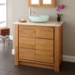 "36"" Venica Teak Vessel Sink Vanity - Update your bath in chic style with the understated 36"" Venica Teak Vanity, which may be customized with the vessel sink of your choice."