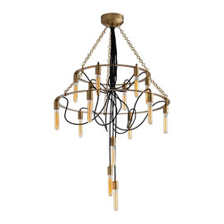 Winston 15L Metal/Fabric Cord Chandelier - The traditional chandelier shape beautifully reworked in a pleasing combination of unusual materials, the Winston Chandelier is made of warm-toned metal with fifteen interesting tube-shaped lights suspended from fine lines of ink-black fabric cord which ripple organically through the center of the double metal tiers.  Three hang in the center below the joined bundle of strands which depends from the deep brass ceiling cap, creating a lustrous grace in the transitional lighting option.