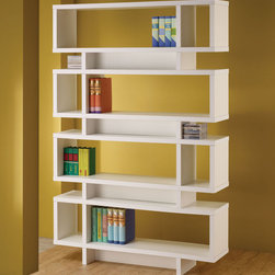 Coaster - 800308 Four Tier Bookcase - Perfect for any modern home, this contemporary bookcase in white has stylish open compartments in various sizes to help you store, decorate and display all your personal items. This bookcase can also be used as a room divider or display shelf.