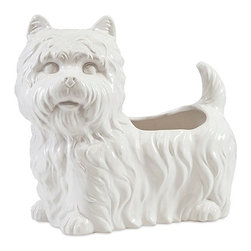 "Imax - Terrier Windsor Ceramic Dog Planter - *Dimensions: 11.5""h x 13""w x 7.5"""