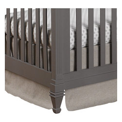 "Liz and Roo - Flax Linen Crib Skirt - Beautiful flax washable linen crib skirt with 16"" drop. A great match for our Tristan, Easton and Garden Gate Separates. Shown here with our Gray Chelsea Crib Sheet. Fits standard 52"" x 28"" crib mattress. Made in USA."