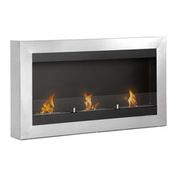 "Ignis Products - Magnum Modern Wall Mounted Ventless Bio Ethanol Fireplace with Glass Barrier - Set the mood for romance with this Magnum Wall Mounted Ethanol Fireplace. It features a show stopping design with a one-piece frame made from durably beautiful stainless steel that will have the attention focused on your wall. This unit is equipped with three 1.5-liter burners to throw up to 18,000 BTUs to keep your snuggly warm. Mount it on the wall or install it in a recessed setting for versatility, and it is ideally sized for installation beneath a wall-mounted television. It is available with optional safety glass and is sure to provide you with years of inviting warmth. It comes with three burners and a damper tool for your convenience. Dimensions: 43.5"" x 24.5"" x 6"". Features: Ventless - no chimney, no gas or electric lines required. Easy or no maintenance required. Easy Installation - Mounts directly on the wall (mounting brackets included). Capacity: 1.5 Liter per Burner. Approximate burn time - 5 hour per Burner per refill. Approximate BTU output: 6000 per Burner (total BTU - 18000).  Includes Safety Glass Barrier and Brackets."