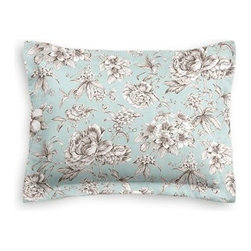 Light Blue Floral Toile Custom Sham - The Simple Sham may be basic, but it won't be boring!  Layer these luxurious reversible shams in various styles for a bed you'll want to fall right into. We love it in this beautiful sky blue and gray toile floral cotton sateen. Modern or traditional? You be the judge.