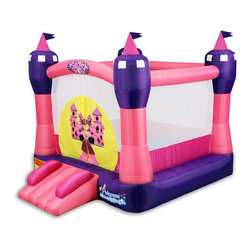 Blast Zone - Princess Castle Bounce House - Features: -Bounce house.-Material: Oxford / PVC.-castle of clouds is perfect for special princesses and their royal friends.-Ideal bounce house for princess parties, sleepovers, backyard play, indoor fun and more.-Enjoy watching your own special princess bounce happily on her cloud of air for hours upon hours, until she is ready for princess dreams.-Rolls up the size of a sleeping bag.-Weight Capacity: 300 lbs..-Used for ages 3 to 8.-Includes blower, stakes, and carry bag.-Color: Pink, purple, and yellow.-Not for commercial use.-Collection: Blast Zone.-Distressed: No.Specifications: -Bouncing Area: 6.5W x 6.33D feet.Dimensions: -Overall Height - Top to Bottom: 94.-Overall Width - Side to Side: 94.-Overall Depth - Front to Back: 130.-Overall Product Weight: 30 lbs.Assembly: -Assembly required.Warranty: -90 Days for bouncers manufacturer's warranty.-1 Year for blowers manufacturer's warranty.