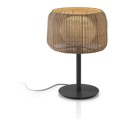 Bover - Fora Mesa - Outdoor Table Lamp | Bover - Bover Fora Mesa�outdoor�table lamp features�light released through a frosted�medium density, UV protected polyethylene globe,�shielded by weaved synthetic polyethylene fiber�lamp shade. Lamp shade is available in grey�graphite, natural white and brown graphite. � Hardware is iron, coated with anti-corrosive, cataphoresis�treatment to provide comprehensive protection�against all weather conditions in accordance with�IP 55 rating. Electrical cord is encased with�protective neoprene. Base is weighted to sustain�high winds. (IP 55) � Manufacturer:�BoverSize:�Shade:�19.69 in. diameter x 27.56 in. total height x 13.78 in. base x 78.74 in. cord Light Source:�2 x 20 W T4 E-26�self ballasted lamp�- not included Location:�Wet Certifications: ETL, IP-55