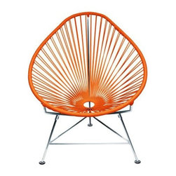 "Innit - Innit Acapulco Chair - Orange Weave on Chrome Frame - ""Relax in cool, contemporary style with this hot-weather Acapulco lounge chair from Innit Designs. Whether enjoying a tropical sunset from the patio or lounging poolside with friends, the chair combines comfort with an eye-catching design. Inspired by the airiness of backyard rope hammocks, the 1940s-style Acapulco lounge chair uses a traditional Mayan weaving technique to create a modern take on the classic woven chair. The chair's waterproof, UV-resistant vinyl cord comes securely wrapped around its recycled, rust-resistant, galvanized-steel frame, which provides a semi-textured polyester powder-coat for long-lasting durability and good looks from one season to the next. The Acapulco lounge chair's woven vinyl not only offers visual appeal and breathability, but also exceptional support and comfort (no cushion needed). The Acapulco lounge chair works well as an accent piece on its own or to create a visiting area when paired with more than one (additional chairs sold separately). Keep all the chairs the same color to complement surrounding decor, or mix it up for a bold, vibrant color scheme that reflects your personal sense of style. The Acapulco lounge chair comes in a vast array of vibrant colors.Dimensions: 30"""" wide by 35"""" deep by 35"""" high with 14"""" sitting heightModern lounge chair with woven UV-resistant vinyl cord for breathability and supportRust-resistant, galvanized-steel frame and semi-textured polyester powder coatWeatherproof, stackable, and easy to cleanPear-shaped frame and tripod base; for indoor/outdoor and residential/commercial use"""