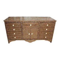 Badia Design Inc. - Syrian Mother of Pearl Inlaid Cabinet - This is a large and elegantly styled Syrian Mother of Pearl Inlaid Cabinet made of brown and beige wood. Cabinet has nine working drawers and two cabinet doors in the middle that will provide plenty of storage space.