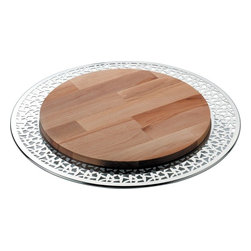 Alessi - Alessi 'CACTUS!' Cheese Board - Your triangle of Brie will look and feel right at home on this fantastic cheese board. With its sophisticated border surrounding the wood island, this platter is a wonderful hybrid of refined meeting rustic.