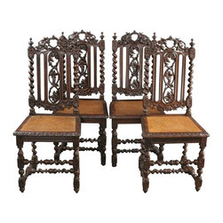 EuroLux Home - 4 Consigned Antique Dining Chairs Renaissance 1880 - Product Details