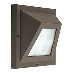"""CSL - Edge LED Bronze 6"""" High ADA Outdoor Wall Light - This contemporary outdoor wall light offers smart styling with a sleek geometric design. This piece starts with aluminum construction and is presented in a gorgeous bronze finish. The Edge wall light features a linear prismatic glass diffuser for an interesting look. It's energy efficient too thanks to LED technology. With a color temperature of 3000K the Edge LED offers warm natural light. This attractive design is a great choice for adding light and style to your exterior. Bronze finish. Aluminum construction. Rated for wet locations. ADA compliant. Includes four 1 watt LED 3000K. 6"""" square. Extends 2 1/2"""" from the wall.  Bronze finish.   Aluminum construction.   Rated for wet locations.   ADA compliant.   California Title 24 compliant.  Includes four 1 watt LED 3000K.   6"""" square.   Extends 2 1/2"""" from the wall."""