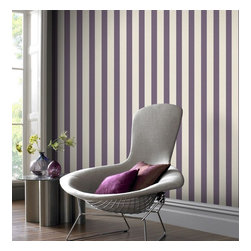 Graham & Brown - Ticking Stripe Wallpaper - A classic striped wallpaper in thistle, or purple if you prefer, incorporates our classic Aaron texture. The small scale of this stripe gives it a very traditional feel but can equally be used in a more contemporary setting.