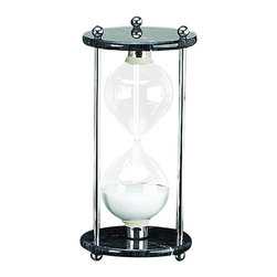 """Black Marble/Chrome 60 Minute Hourglass - The black marble/chrome 60 minute hourglass measures 10""""H. The hand blown glass is filled with white sand and sits on a black marble base with three chrome columns supporting it. It is a beautiful and fun gift for all those who love the sea, sailing and boats. This is a very popular item for corporate events and parties. Hourglasses are aesthetically pleasing ornaments, rather than accurate timepieces. This hourglass is usually accurate to within 5 minutes."""