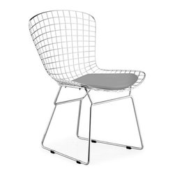 Advanced Interior Designs - Bertoia Side Chair, Chrome Finish with Grey Seat Pad - This classic mid-20th century modern chair is a brilliant design. Our Bertoia Wire Side Chair is a high quality reproduction of the original design by Harry Bertoia. It is a study of space, form, and function.