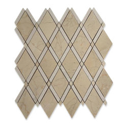 "GlassTileStore - Imperial Textured Crema Marfil Marble Tile - Imperial Textured Crema Marfil Marble Tile             This marble mosaic will provide endless design possibilities from contemporary to classic. It creates a great focal point to suit a variety of settings. The mesh backing not only simplifies installation, it also allows the tiles to be separated which adds to their design flexibility. Natural stones are products of nature, therefore, variations in color, pattern, texture, and veining will occur.         Chip Size: N/A   Color: Crema Marfil    Material: Marble   Finish: Honed, Chiseled and Polished     Sold by the Sheet - each sheet measures 12"" x 12"" (1 sq. ft.)   Thickness: 10mm   Please note each lot will vary from the next.            - Glass Tile -"