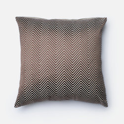 "Frontgate - Brown Chevron Throw Pillow - Satin embroidery covers 100% cotton chambray. Cotton-cover backside. Zipper closure. Feather/down insert. Stunning satin embroidery covers the cotton chambray to create the Bourbon Chevron Decorative Pillow. The combination feather and down insert ensures long-lasting comfort and loftiness. Add this 22"" square pillow to any sofa, chaise or chair for an instant style update.  .  .  .  ."