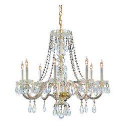 Crystorama Lighting Group - Crystorama Lighting Group 5048-CL-MWP Traditional Crystal 8 Light Candle Style C - *Eight Light Majestic Wood Polished Crystal ChandelierRequires 8 60w Candelabra Bulbs (Not Included)Includes 36 inches of chain and 72 inches of wire