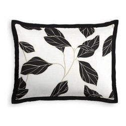 Black & White Modern Leaf Custom Sham - Stay classy, America!  Add a few Tailored Shams with crisp solid edging to create a bedset with the perfect mix of contemporary style and classic elegance. We love it in this black and white leaf motif with graphic modern flare.