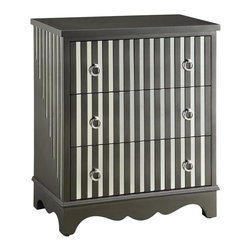 Sterling Striped Mirror 3 Drawer Chest - Sterling Striped Mirror 3 Drawer Chest
