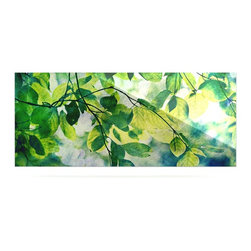 """Kess InHouse - Sylvia Cook """"Leaves"""" Teal Green Metal Luxe Panel (9"""" x 21"""") - Our luxe KESS InHouse art panels are the perfect addition to your super fab living room, dining room, bedroom or bathroom. Heck, we have customers that have them in their sunrooms. These items are the art equivalent to flat screens. They offer a bright splash of color in a sleek and elegant way. They are available in square and rectangle sizes. Comes with a shadow mount for an even sleeker finish. By infusing the dyes of the artwork directly onto specially coated metal panels, the artwork is extremely durable and will showcase the exceptional detail. Use them together to make large art installations or showcase them individually. Our KESS InHouse Art Panels will jump off your walls. We can't wait to see what our interior design savvy clients will come up with next."""