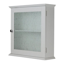 Elegant Home Fashions - Elegant Home Fashions Connor 1 Door Medicine Cabinet Multicolor - ELG-578 - Shop for Bathroom Cabinets from Hayneedle.com! The Elegant Home Fashions Connor 1 Door Medicine Cabinet will add quietly stylish storage to the bathroom. This engineered wood cabinet in white features a single door with a water textured glass panel. Grab hold of the double plated coordinating door knob to access the single fixed shelf inside. Assembly hardware is included as are instructions and diagrams in several languages.