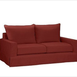 """PB Comfort SquareLoveseat Knife-EdgeTwillSierra RedPoly - Built by our exclusive master upholsterers in the heart of North Carolina, our PB Comfort Square Slipcovered Love Seat is designed for unparalleled comfort with deep seats and three layers of padding. 63"""" w x 40"""" d x 37"""" h {{link path='pages/popups/PB-FG-Comfort-Square-Arm-4.html' class='popup' width='720' height='800'}}View the dimension diagram for more information{{/link}}. {{link path='pages/popups/PB-FG-Comfort-Square-Arm-6.html' class='popup' width='720' height='800'}}The fit & measuring guide should be read prior to placing your order{{/link}}. Choose polyester wrapped cushions for a tailored and neat look, or down-blend for a casual and relaxed look. Choice of knife-edged or box-style back cushions. Proudly made in America, {{link path='/stylehouse/videos/videos/pbq_v36_rel.html?cm_sp=Video_PIP-_-PBQUALITY-_-SUTTER_STREET' class='popup' width='950' height='300'}}view video{{/link}}. For shipping and return information, click on the shipping tab. When making your selection, see the Quick Ship and Special Order fabrics below. {{link path='pages/popups/PB-FG-Comfort-Square-Arm-7.html' class='popup' width='720' height='800'}} Additional fabrics not shown below can be seen here{{/link}}. Please call 1.888.779.5176 to place your order for these additional fabrics."""