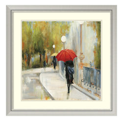Amanti Art - Aimee Wilson 'I Will Be There II' Framed Art Print 33 x 33-inch - Intriguing, yet romantic, this framed art print by Aimee Wilson features a woman with a bright red umbrella walking on a rainy day.