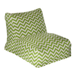 HRH Designs - Indoor-Outdoor Beanbag Lounger, Green Chevron - Indoor/outdoor beanbag lounger. Removable washable cover. Water resistant. Chair can be refilled when needed.